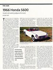 1966 Honda S600 Sport Roadster Original Car Review Print Article J607