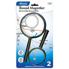 Round Handheld Magnifier Sets 2X & 3X Magnification School Home Office-Black