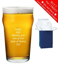 Personalised Engraved Pint Beer Glass Birthday Gift Any Age 18th 21st 30th 40th