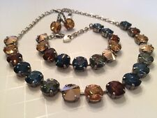 Swarovski Crystal Elements Blue & Brown Antique Silver Cup Chain 12mm Jewelry