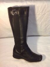 Clarks Black Knee High Leather Boots Size 4D