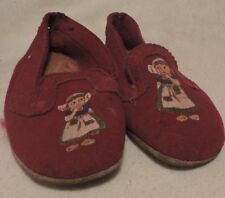 Vintage Pair of Cloth Children's Shoes with Young Lady Picture on them