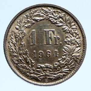 1964 B SWITZERLAND - SILVER 1 Franc Coin HELVETIA Symbolizes SWISS Nation i96091