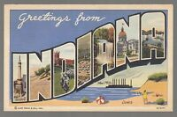 [61551] OLD LARGE LETTER POSTCARD GREETINGS FROM INDIANA