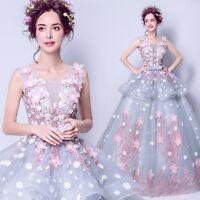 Charming 3D Flower Bows Applique Wedding Dress Bridal Princess Gown Custom Size