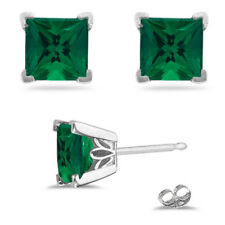 4 CT Natural Green Emerald Gemstone Earrings Solid Real 14K White Gold Stud