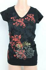Apple Bottoms Shirt Womens Top V Neck Rhinestones Black Red Gold Medium Junior