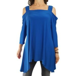 FASHQUE STUDIO L/XL bright blue cold shoulder hi-lo tunic top ¾ slv liquid knit