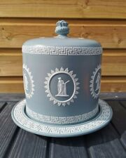 More details for antique dudson grey jasperware stilton cheese dome cake plate wedgwood style