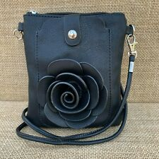 Black Rose Small Bag with Smart Phone Spectacle Holder Long Cross Body Strap