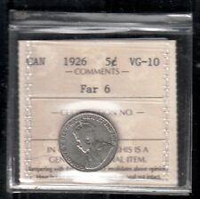 F 25 CANADA 5 CENTS COIN 1926 FAR 6 VG+ certified $185.00 SCARCE KEY DATE
