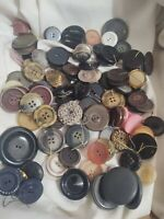 "135 VTG Antique Buttons Round Flat Assorted All Coat Cloak Sweater Size 1"" - 2"""