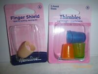 Hemline 3 Lightweight Plastic or Thimbles Finger Shield Tailors Sewing Quilting