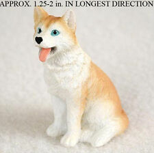 Husky Mini Resin Dog Figurine Statue Hand Painted Red/White Blue Eyed