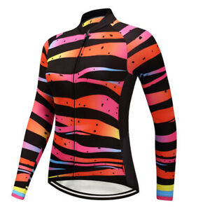 Women Cycling Long Sleeve Jersey Kit Bicycle Bib Bike Shirt Pant Clothes Top Fit