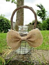 Hand Made Finished Wire Basket With Bottle Flower Herbs Plant Display Vase