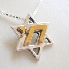 Star of David Chai Silver & gold necklace jewish jewelry gift