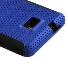 Straight Talk Samsung Galaxy II 2 S959G MESH Hybrid Rubber Skin Case Cover Blue