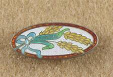Antique Sterling Silver Cloisonne Canada Souvenir Pin Brooch Wheat Stalk Grain