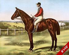 ENGLISH HORSE JOCKEY MOUNTED AT RACE TRACK RACING ART PAINTING REAL CANVAS PRINT