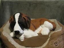 Saint Bernard Puppy Basket / Bed Buddy Decorative Life Like Puppy Statue
