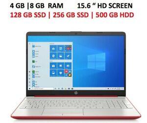 NEW HP 15.6 HD Red Laptop Intel 4GB I 8GB RAM,128 | 256 GB SSD Win10 Webcam