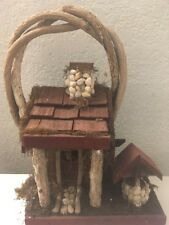 Vintage Folk Art Primitive Style Log Cabin Decor Bird House Wood Chimney Well