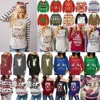 Womens Sweatshirt Jumper Long Sleeve Christmas Hoodie Pullover Shirt Tops Blouse
