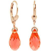 Ohrringe Rosegold Rot Koralle Tropfen Swarovski® Kristalle 925 Sterling Silber N