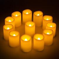 12x Flickering Ivory Votive Candles Flameless Pillar LED Candles Light