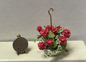 Vintage Artisan Hanging Geraniums & Ivy Plant Dollhouse Miniature 1:12