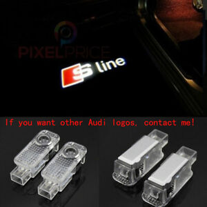 2Pcs Audi Sline LOGO GHOST LASER PROJECTOR DOOR UNDER PUDDLE LIGHTS FOR AUDI HD