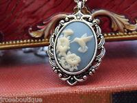 .925 CH VINTAGE  pink purple  BLUE HUMMINGBIRD SILVER ANTIQUE CAMEO NECKLACE