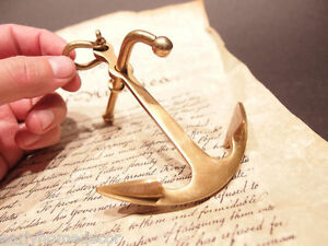 """5"""" Vintage Antique Style Brass Nautical Ships Boat Anchor Paperweight Desk"""