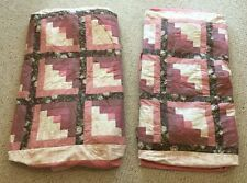 Lot of 2 Pink Handmade Quilts Twin Fitted Tailored Corners Log Cabin Pattern GUC