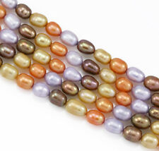 6-7mm Orange Gold Mixed Rice Oval Freshwater Pearls Beads for Jewellery Making