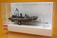 Busch 59952 Anhänger mit Motorboot Bundespolizei Scale 1 87 NEU OVP
