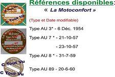 PLAQUE CONSTRUCTEUR  MOTOCONFORT moteur AU3* à AU8*- VIN PLATE MOTOCONFORT motor