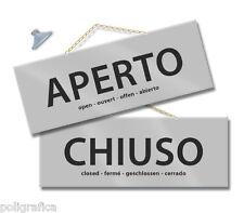 MAXI Cartello APERTO e CHIUSO cm 28,5x10 ARGENTO kit con catenina e ventosa