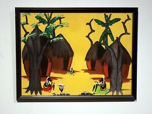 rare unique midcentury original tribal watercolor painting Congo Africa framed