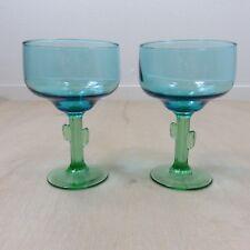 Blue Margarita Glasses Green Cactus Stem Set of 2 Rare Blue Turquoise Tinted
