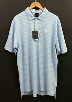 NWT Dunning Golf Men's Blue/White Striped Short Sleeve Performance Polo Shirt XL