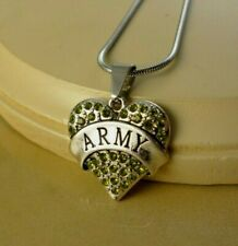 ARMY green crystal HEART W/Steel NECKLACE family jewelry gifts