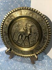 Vintage Round Brass Camel And Palm Tree Middle Eastern Wall Plate 9in B Hamada