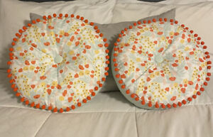 Lot of 2 Target Throw Pillows Teal Orange and Yellow Floral Print With Pom Pom
