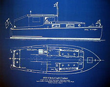 "Yacht Plan 1931 Chris Craft Cruiser Blueprint Drawing 18"" x 23""  (006)"