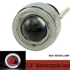 "2"" MOTORCYCLE BI-XENON HID KIT White Angel Eye Red Devil Eye Headlight Lens"