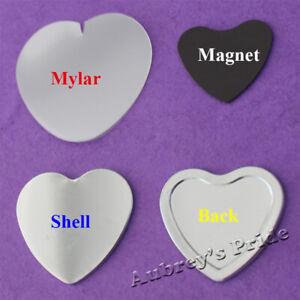 100 Set Heart Shape 57x52mm Blank Rubber Magnetic Back Metal Badge Button Maker