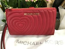 Michael Kors Adele Nappa Leather Double Zip Phone Case Wallet Wristlet Scarlet