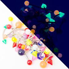 100 Assorted Piercing Jewelry - Glitter, Acrylic, UV Glow - Assorted GA/Lengths